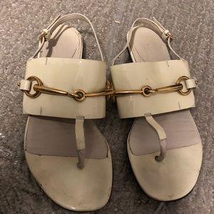 Gucci Cream Horsebit Sandals 36.5